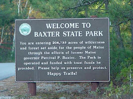 Baxter State Park Welcome sign. Photo